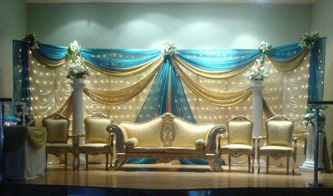 gold and blue wedding backdrop in 2019 | Blue gold wedding
