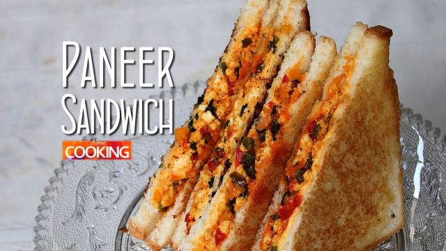 Paneer Sandwich Recipe Ingredients: Malai Paneer - 150 gms Bread slices Cheese slice(s) Butter Oil - 1 tbsp Onion - 1 no. chopped Green chili - 1 no. thinly sliced Green Capsicum - 2 tbsp Red Capsicum - 2 tbsp Yellow Capsicum - 2 tbsp Salt to taste Chili powder - 1 tsp Pinch of Turmeric powder  Garam Masala powder - 1/4 tsp Amchur (Dry Mango powder) - 1/2 tsp Few chopped Coriander leaves   Method: 1. Heat Oil in a pan. 2. Add Onion, Green chili, Tri-color Capsicum (Green, Red, Yello...