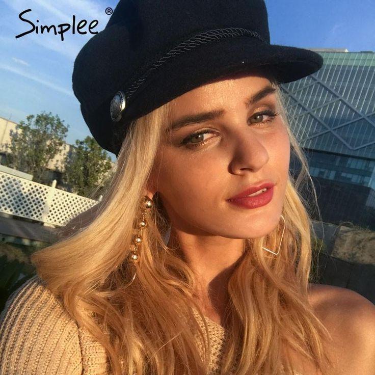 Lisipieces-Simplee Fashion black hat cap women