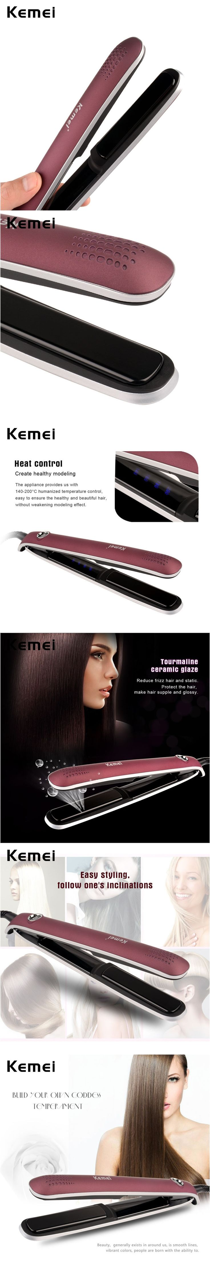 110-240V Flat Iron Kemei Fast heating Professional Hair Straightener Straightening Irons Styling Tools brosse lissante Wholesale
