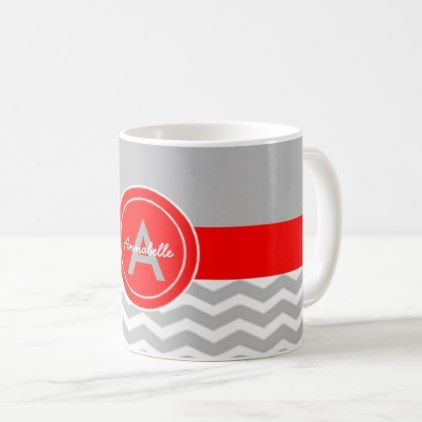Gray Red Chevron Coffee Mug - monogram gifts unique design style monogrammed diy cyo customize