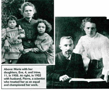 Madame Marie and Pierre Curie and family.