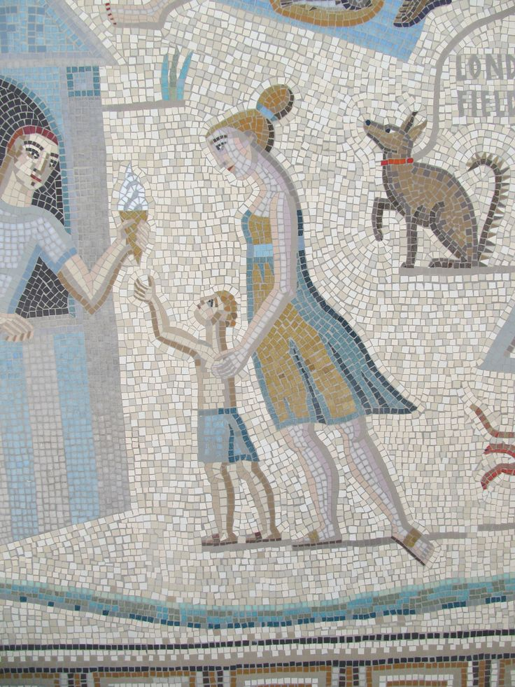 ice cream seller mosaic mother and child dog detail of shepherdess walk mosaic hackney london