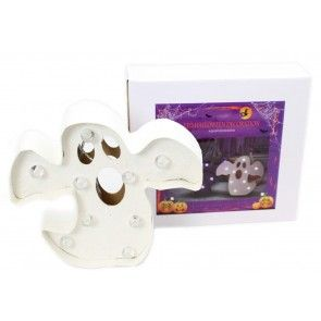 Battery Operated Light Up Ghost Halloween Sign Decoration 22 x 20 x 5cm