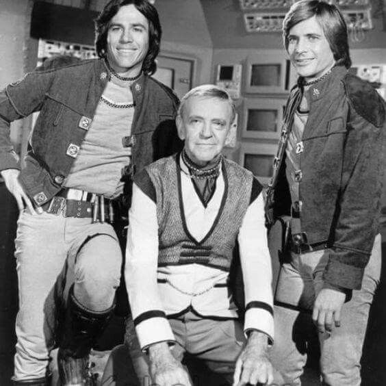 """Astaire with Richard Hatch and Dirk Benedict in """"Battlestar Galactica"""", a little beneath Freddie, but hey; it's work, so don't knock it, right?"""