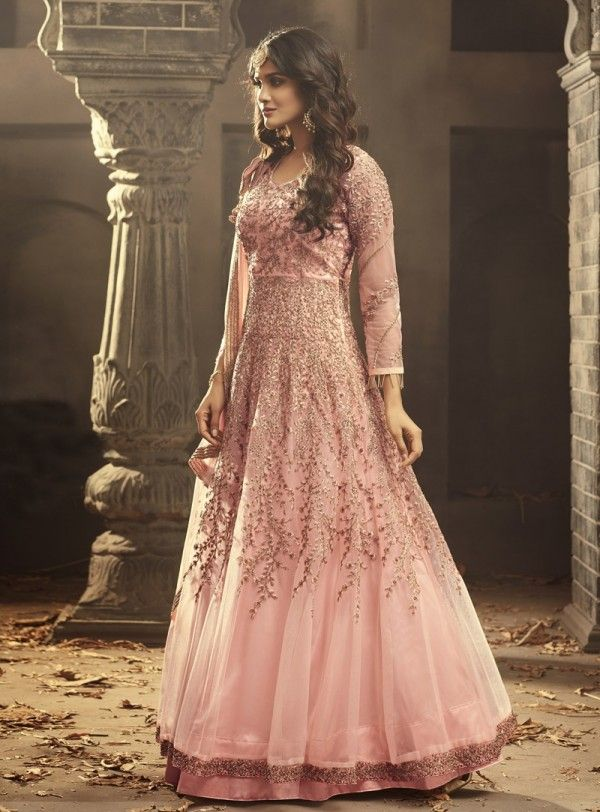 0549d151cfd1 Pink Blush Gown Style Anarkali Suit is specifically designed to make you  look perfect as a bride and bridesmaids. This suit set features zardosi and  resham ...