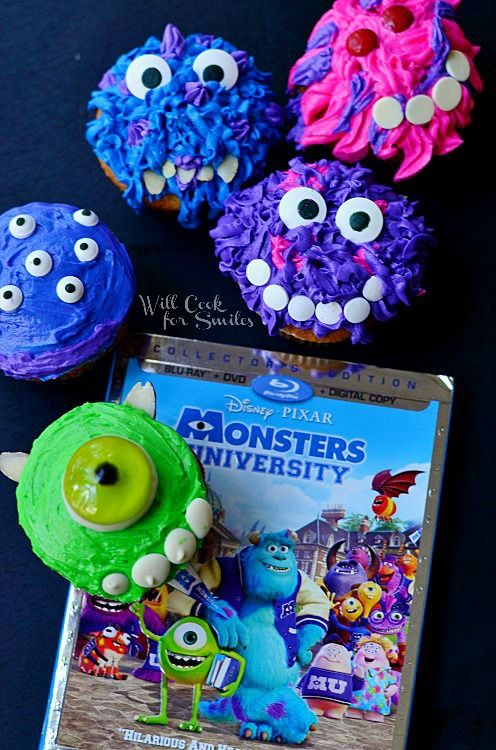 Monsters University Cupcakes 9  from willcookforsmiles.com #monsters #cupcakes #party
