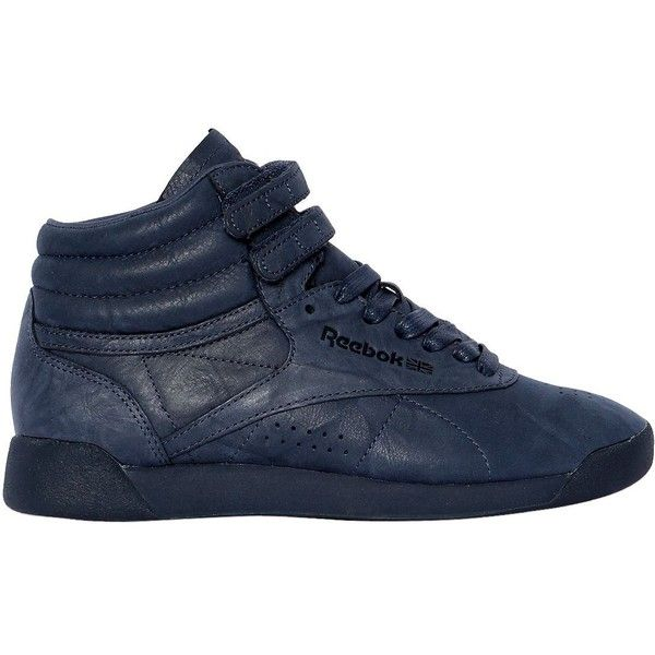 Reebok Classics Women Freestyle Nubuck High Top Sneakers ($140) ❤ liked on Polyvore featuring shoes, sneakers, navy, reebok shoes, lace up sneakers, navy sneakers, lace up shoes and navy shoes