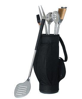 Novelty 5 Piece BBQ Tools in Black Golf Bag and Golf Grips - THINGS FESTIVE