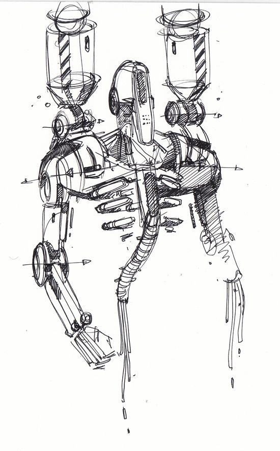 sketch of a robot by spencer nugent