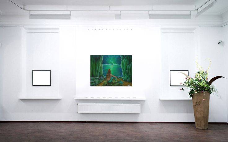 green, living room decor, mermaid, painting