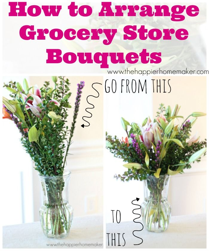Love the look of a fresh floral bouquet? But hate the price. Learn how to arrange a grocery stor bouquet for a beautiful floral display. #flowers #floral