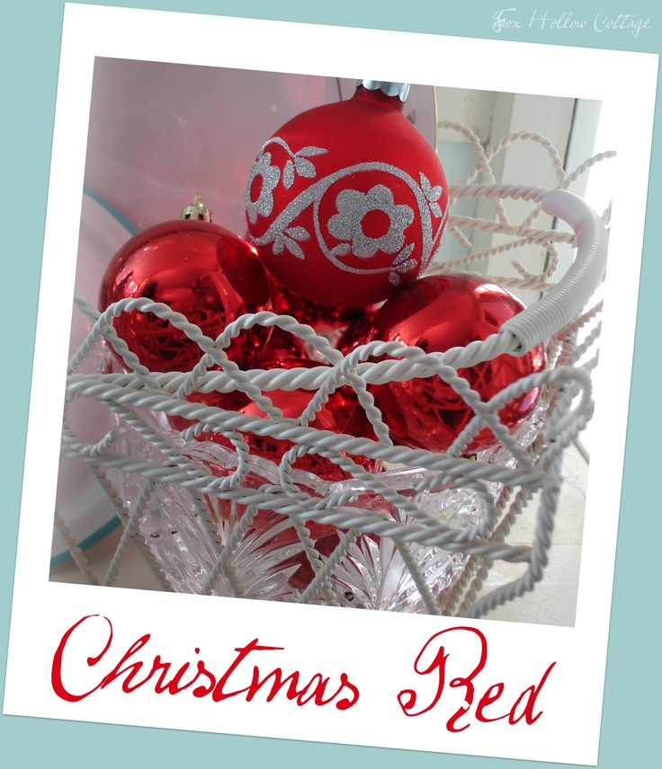Christmas #Shiny Bright #Red #Xmas #Ornaments #Iron Basket