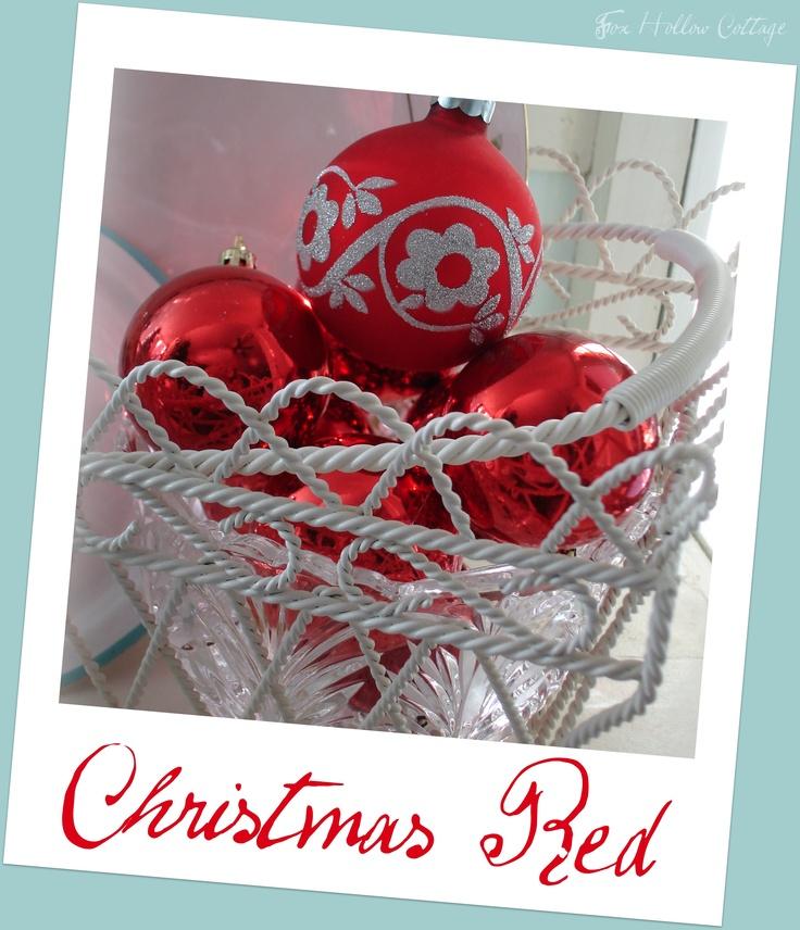 Christmas #Shiny Bright #Red #Xmas #Ornaments #Iron Basket