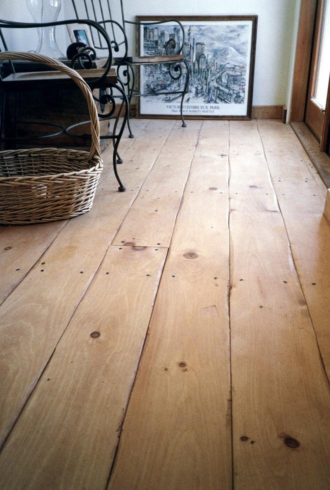 Rustic Eastern White Pine wide plank floor