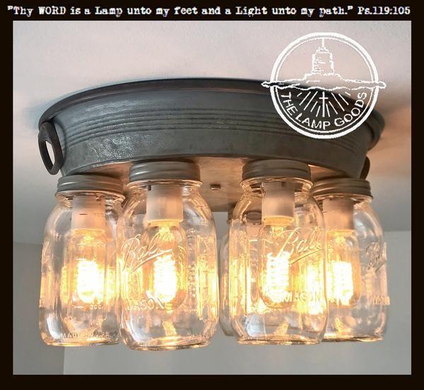 Mason Jar Ceiling Light 6 Or 8 Light With Galvanized Metal Jar