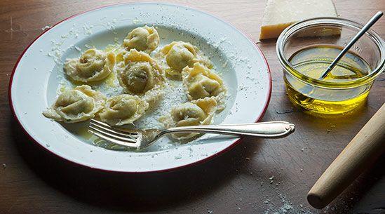 Spinach, Ricotta and Mascarpone Tortelloni Recipe adapted from Giovanni Rana, Pastificio & Cucina