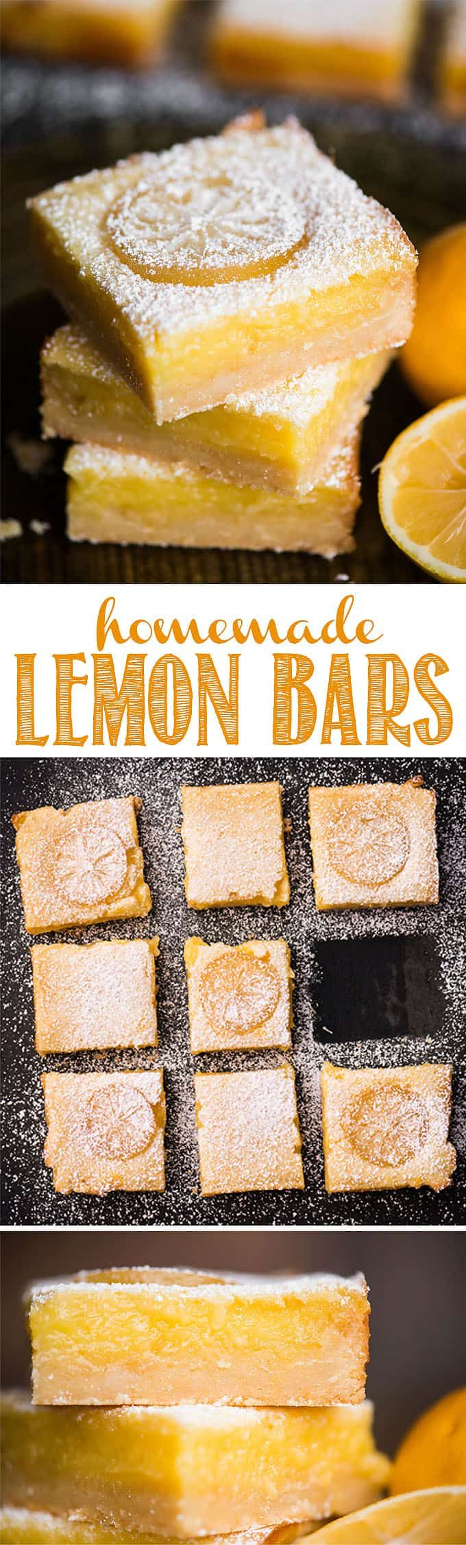 Homemade Lemon Bars, also known as Lemon Squares, are a super sweet and tart bar cookie. The base is a rich and delicious lemon shortbread. The top is a creamy and heavenly lemon custard layer. The ration of lemon to shortbread is perfect. This is the best lemon bar recipe you will find! #lemonbars #lemonsquares #citrus