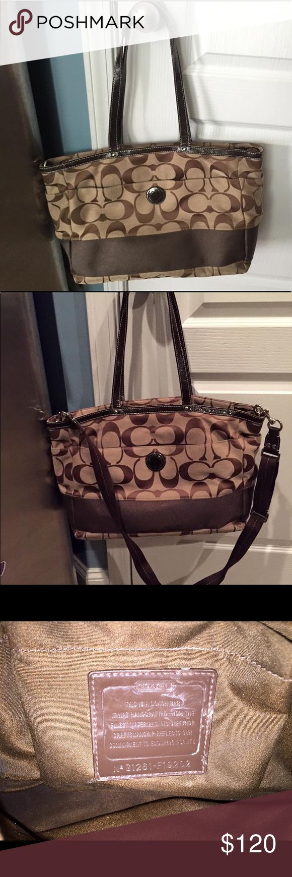 Coach diaper bag Very clean gently used Coach diaper bag - classic brown C logo. Roomy enough for anything and everything for baby plus your own purse items. Coach Bags Baby Bags