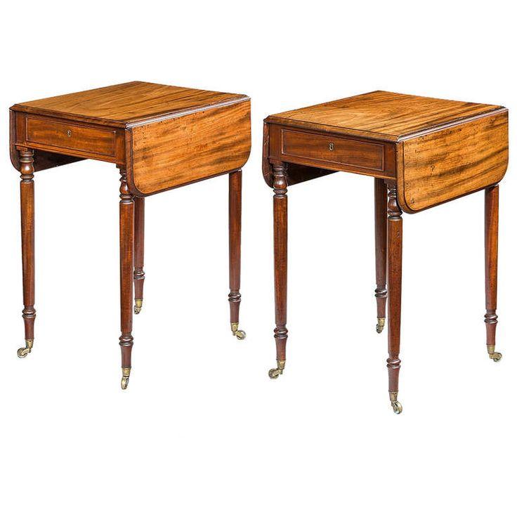 A Pair Of Antique Regency Mahogany Pembroke Tables. Drop Leaf ...