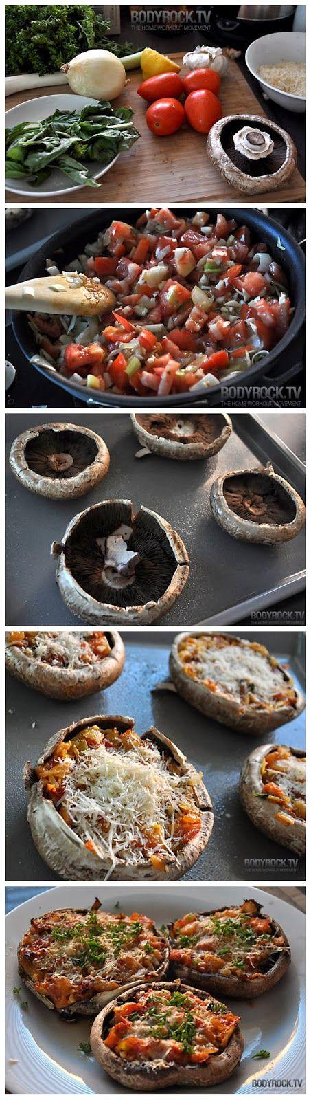 Normal Recipe: Delicious & Healthy Pizza Recipe with Portabello Mushrroms.  Omit the cheese to make paleo.