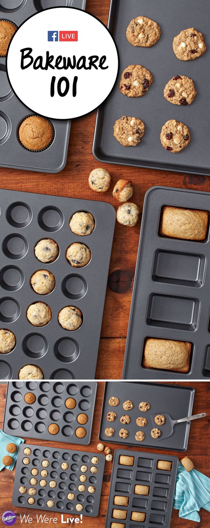 Everything you need to learn about different baking pans from aluminum to silicone! Click to watch our Facebook Live episode on Bakeware 101!