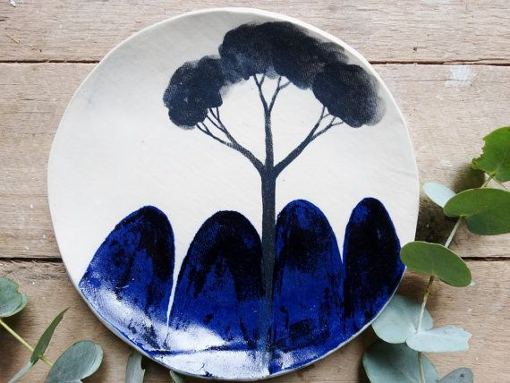 Ceramic plate Indigo blue side plate hand painted by MountainClay