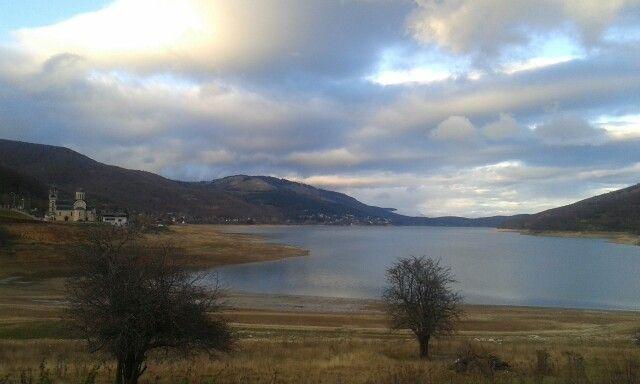 View to the Mavrovo lake.