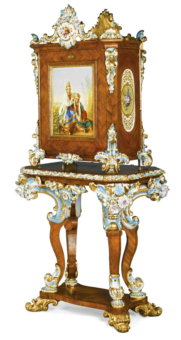 Victorian carved rosewood center table w marble turtle top cottone - A Rosewood Porcelain And Gilt Bronze Writing Cabinet Peter And Ernst Gambs And