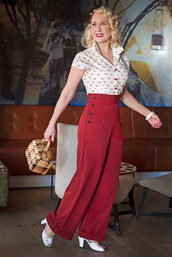 These beautiful 1940s Swing Pants are available in several different good quality fabrics.  Pants are highwaisted and come with a 2