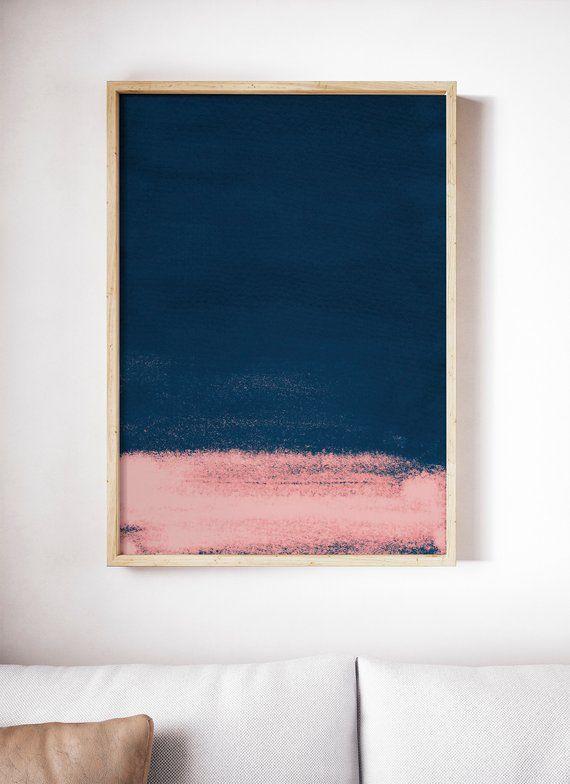 Printable Dark Blue And Pink Print Navy Art Print Navy Print Abstract Painting Modern Abstract Art Navy Art Print Pink Abstract Art Blue Abstract Painting