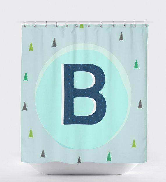 Tree Shower Curtain Monogram Shower Shower by HawkerPeddler