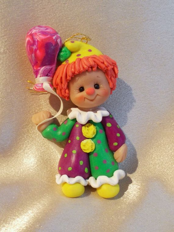 clown Christmas ornament polymer clay personalized gift by clayqts, $20.95
