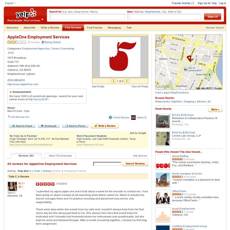 5-Star Yelp Review for AppleOne. Here is a Yelp review from a recently
