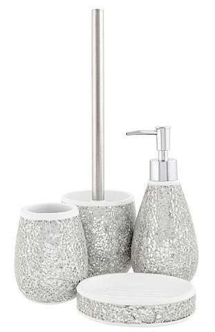 silver glitter bathroom accessories. Buy Cracked Silver Glass Bath Accessories Range from our Bathroom  range today George at ASDA 56 best Splish Splash Sparkle images on Pinterest