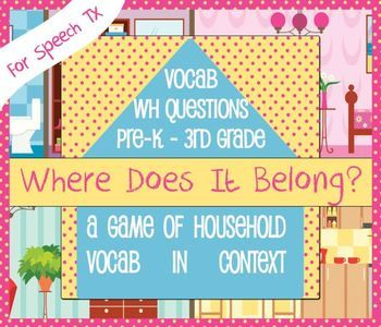 New design: House Vocab Game - Speech Therapy, ESL, RTI