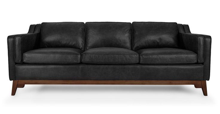 Black Vintage Leather Sofa Upholstered Article
