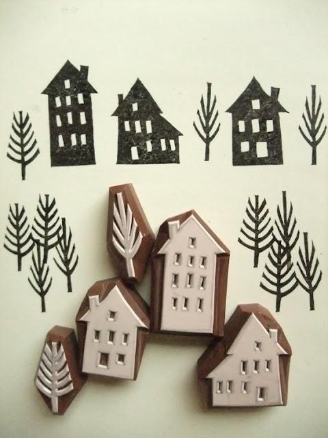 Huisjes stempels #DIY #Stamps