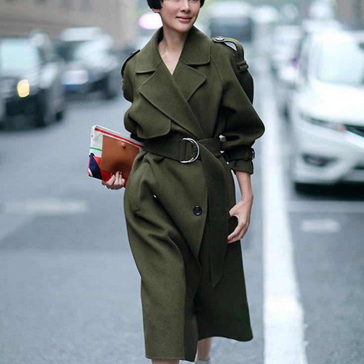ХОЛОДНЫЙ ЗЕЛЕНЫЙ 2016 Новый Дизайн Зимнее пальто женщин Шерстяное Пальто Траншеи Негабаритных Теплый женские пальто Европейский женская Мода одежда Z317 купить на AliExpress