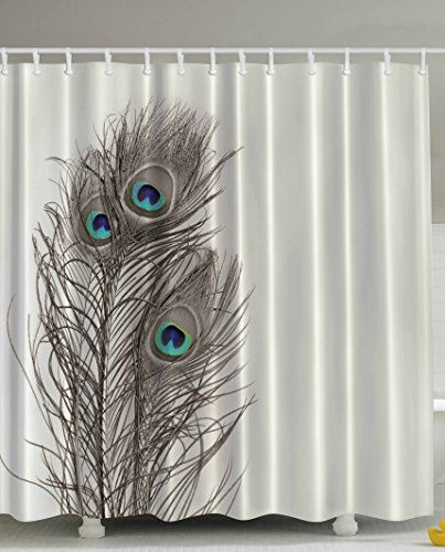 Natural Peacock Tail Feathers with Eyes Home Designers Selection Innovational Decorative Item Pearl Ivory Bathroom Art Digital Print Polyester Fabric Shower Curtain Ambesonne http://www.amazon.com/dp/B019IOBTXA/ref=cm_sw_r_pi_dp_U-x8wb1CT268W