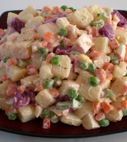 Haitian Potato Salad from Food.com: My heart goes out to all the victims of the earthquake in Haiti. I have been learning a little bit about their country and culture. Here is a recipe from The Taste of Haiti. Cook time is assuming you are cooking vegetables at the same time.