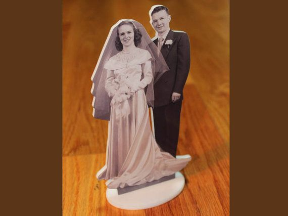 Photo Cake Toppers by customcutouts on Etsy - could get the puzzle pieces done this way!