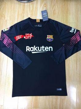 c5452878f16 2018-19 Cheap Goalie Jersey Barcelona Black LS Replica Soccer Shirt  CFC958