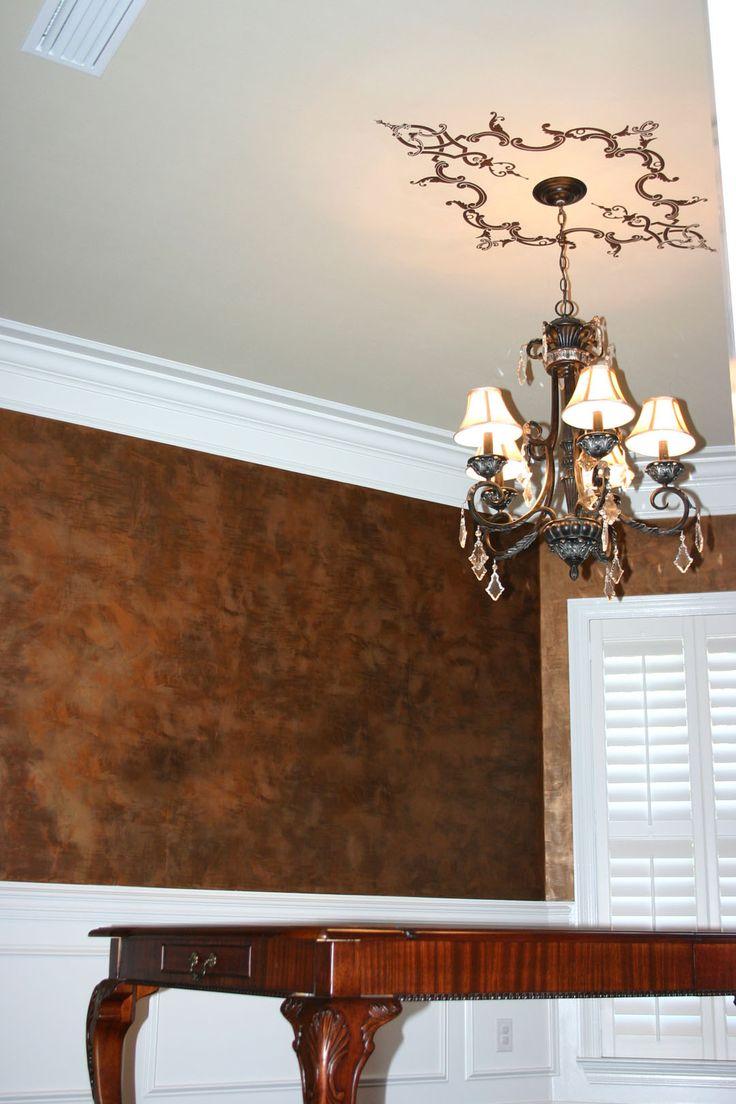 Faux Copper Paint = bronze gold and espresso metallic paints layered faux effect