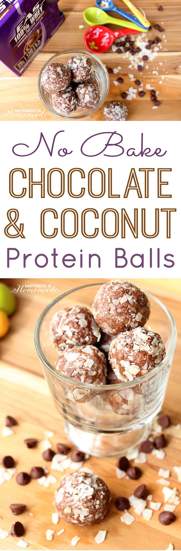 No Bake Chocolate Coconut Protein Balls Recipe - Happiness is Homemade #DoMoreWithProtein #ad