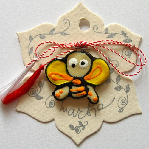 ceramic bee - martisor charm