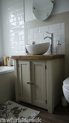 CHUNKY RUSTIC PAINTED BATHROOM SINK VANITY UNIT WOOD SHABBY CHIC FarrowBall