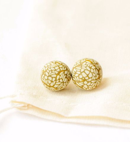 Goldenrod Lacewing; polymer clay studs with surgical steel posts