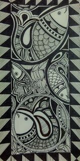 Madhubani Painting : Fishes With pen