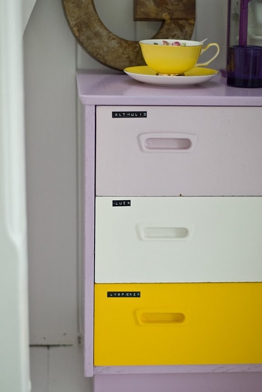 colorful and labeled with #dymo, great DIY project with cheap Ikea cabinet or so...